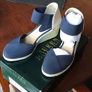 NEW Ralph Lauren Navy Charla wedge sandal  sz 9